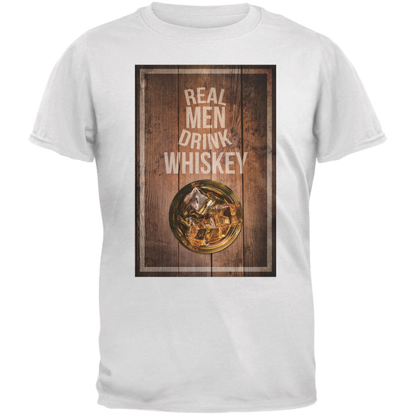 St. Patricks Day - Real Men Drink Whiskey White Adult T-Shirt
