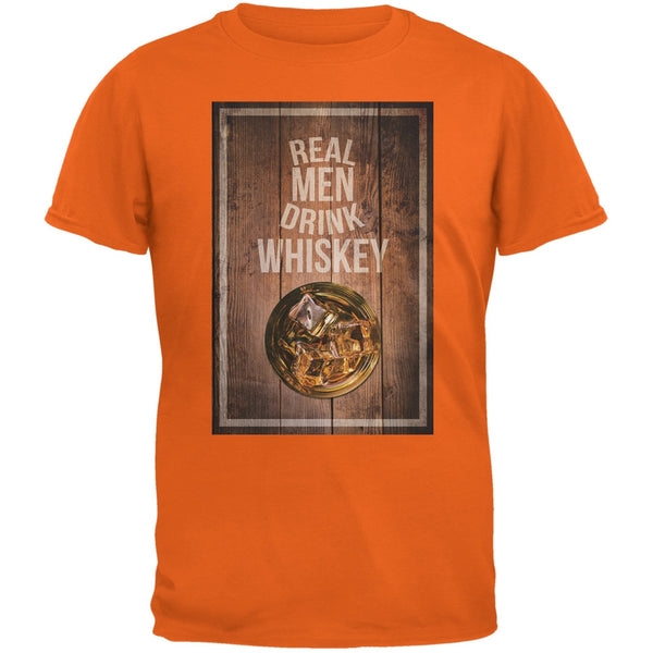 St. Patricks Day - Real Men Drink Whiskey Orange Adult T-Shirt