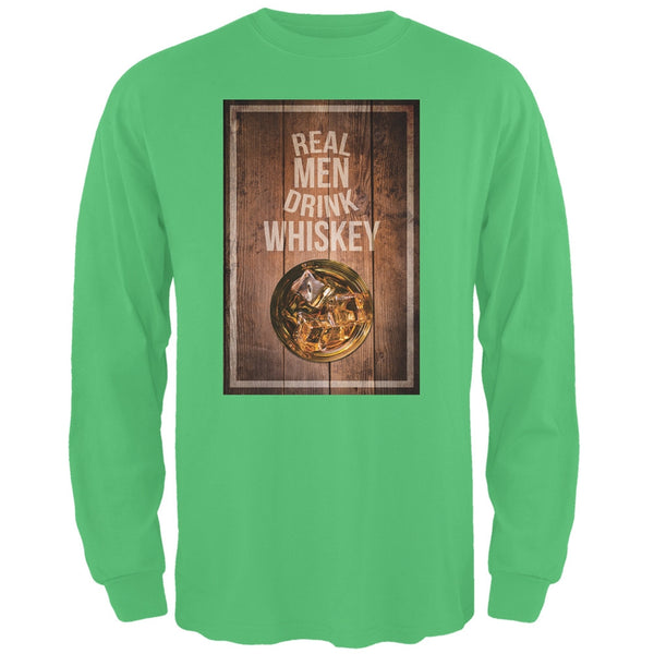 St. Patricks Day - Real Men Drink Whiskey Irish Green Adult Long Sleeve T-Shirt