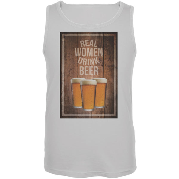 St. Patricks Day - Real Women Drink Beer White Adult Tank Top