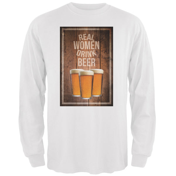 St. Patricks Day - Real Women Drink Beer White Adult Long Sleeve T-Shirt