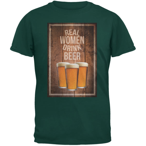 St. Patricks Day - Real Women Drink Beer Forest Green Adult T-Shirt