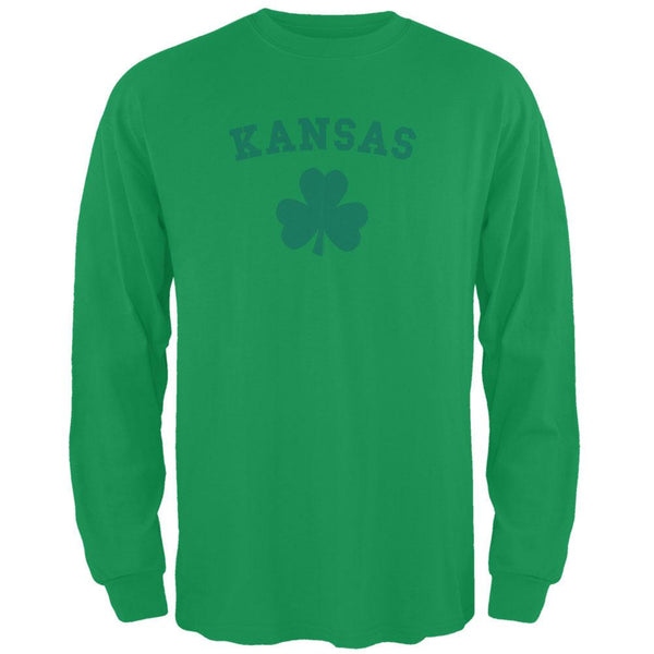 St. Patrick's Day - Kansas Shamrock Green Adult Long Sleeve T-Shirt