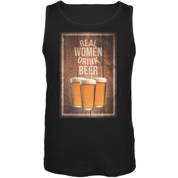 St. Patricks Day - Real Women Drink Beer Black Adult Tank Top