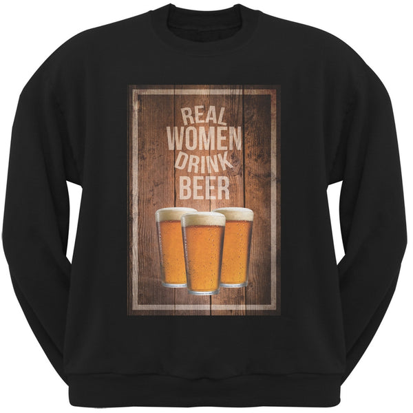 St. Paricks Day - Real Women Drink Beer Black Adult Sweatshirt