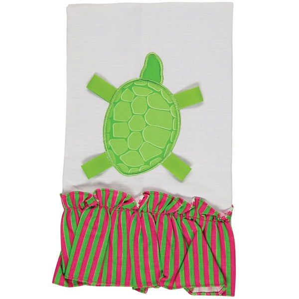 Turtle Sitting Ruffled Hand Towel