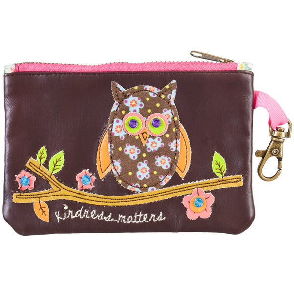 Owl Kindness Matters Vegan Leather ID Pouch