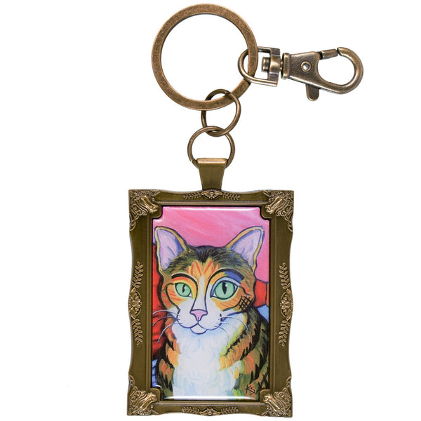 Brown Tabby Pawcasso Framed Keychain
