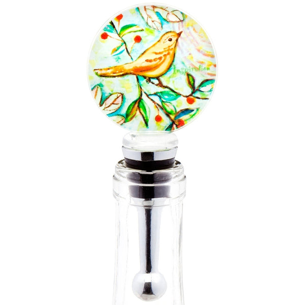 Yellow Warbler Inspiration Blown Glass Wine Bottle Stopper