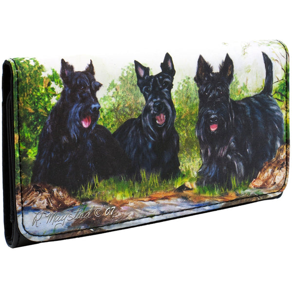 Scottish Terriers in the Yard Checkbook Wallet