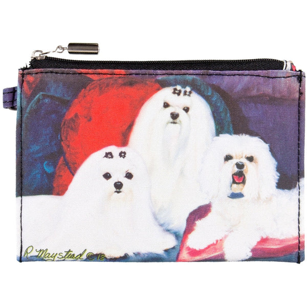 Maltese Sitting on Couch Zippered Pouch