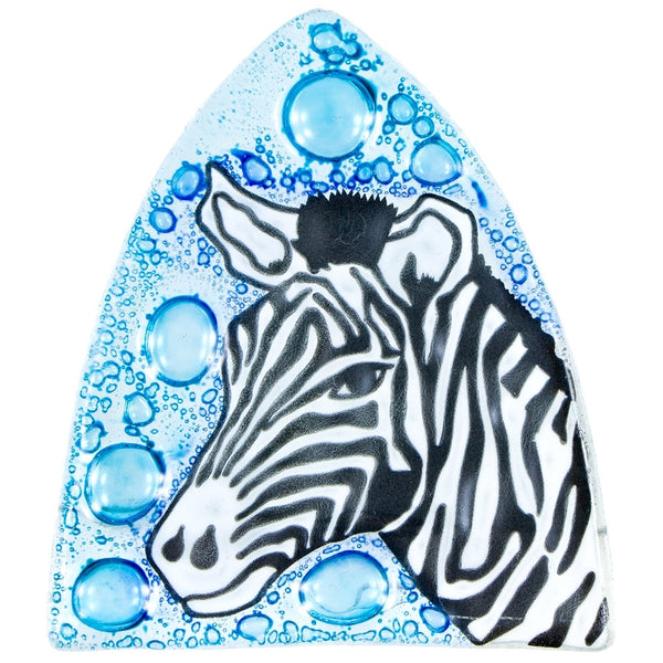 Zebra Head & Bubbles Fused Glass Nightlight Cover