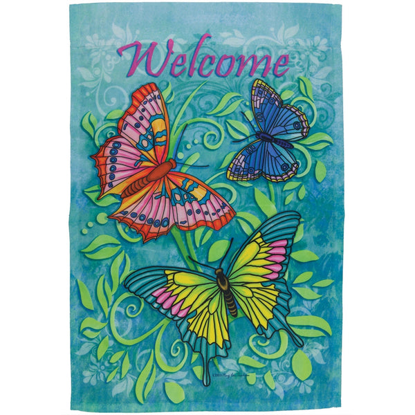 Butterflies Welcome Mini Flag