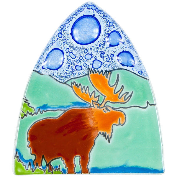 Moose by the Lake Fused Glass Nightlight Cover