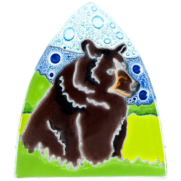 Grizzly Bear in Woods Fused Glass Nightlight Cover