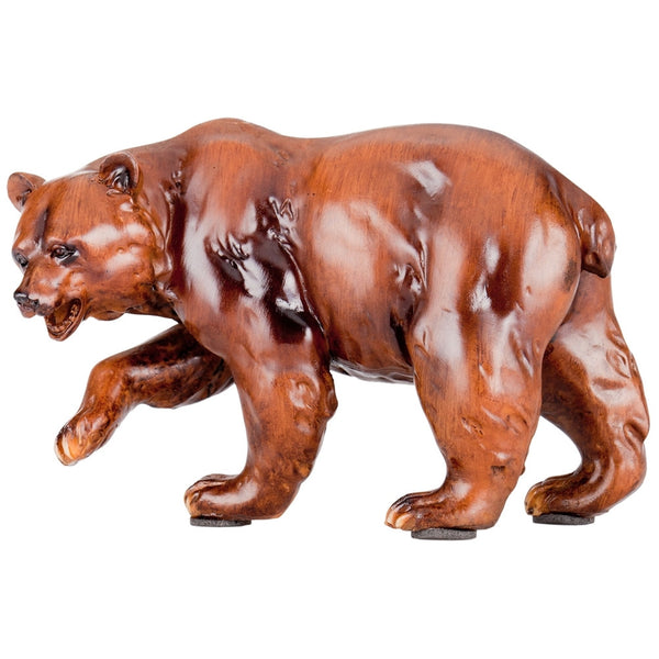Bear with Extended Paw Faux Wood Figurine