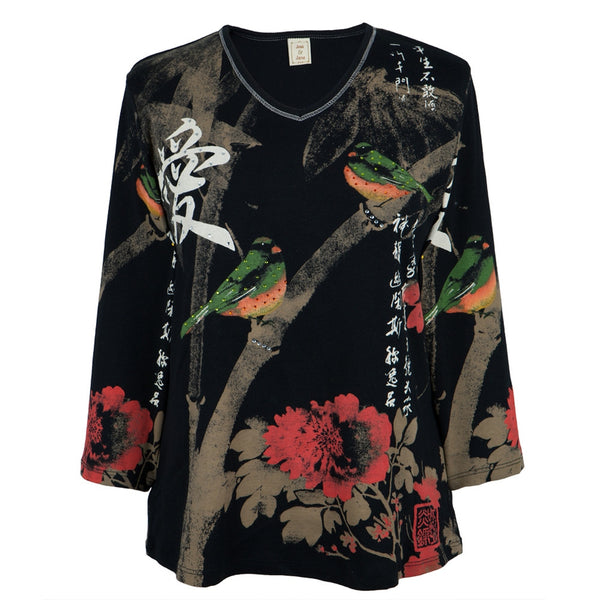 Asian Love Birds Women's V-neck 3/4 Sleeve Blouse