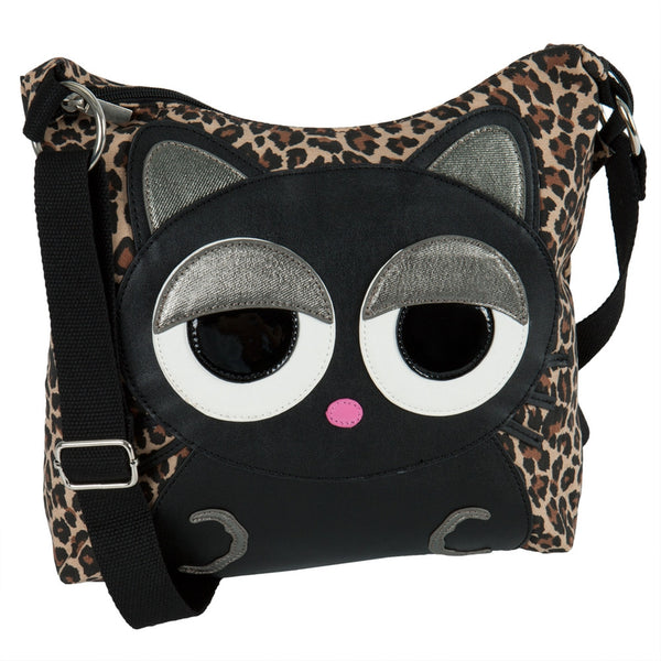 Cat Sleepyville Face Canvas Cross Body Shoulder Bag