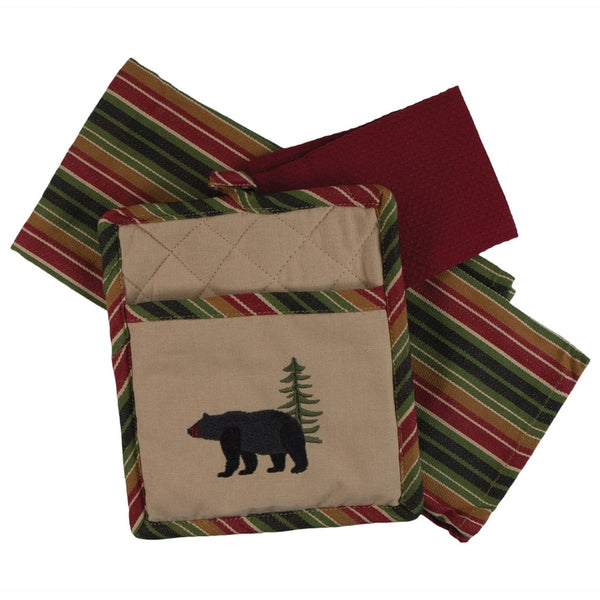 Embroidered Bear 3-Piece Kitchen Set