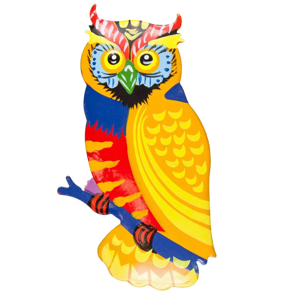 Yellow Owl Body Bobble Metal Magnet