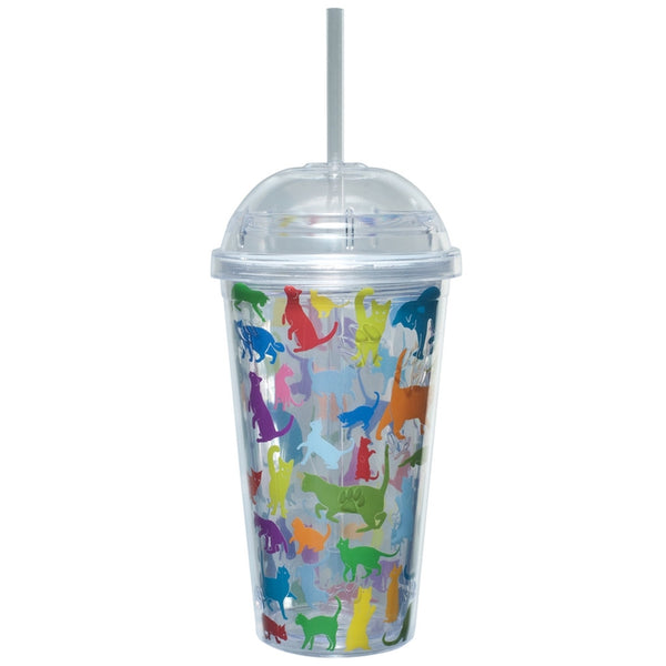 Cat Rainbows Dome Top Plastic Cup With Straw