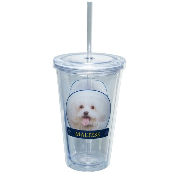 Maltese Profile Plastic Pint Cup With Straw