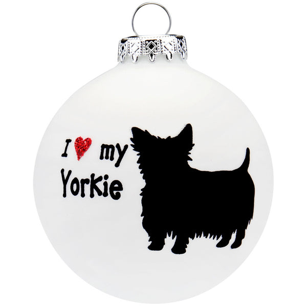 Yorkshire Terrier I Heart Round Glass Ornament