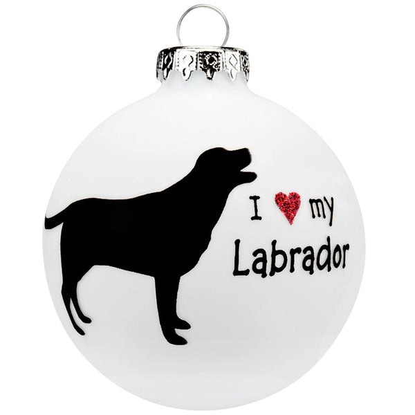 Labrador I Heart Round Glass Ornament