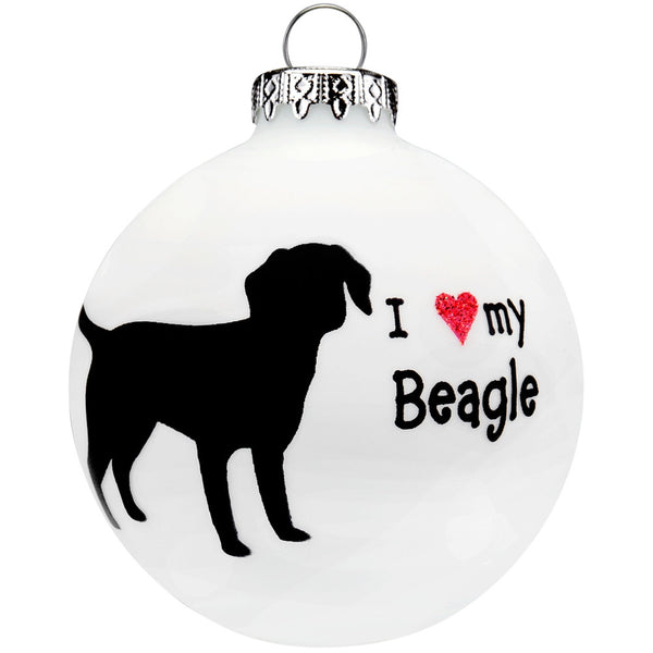 Beagle I Heart Round Glass Ornament