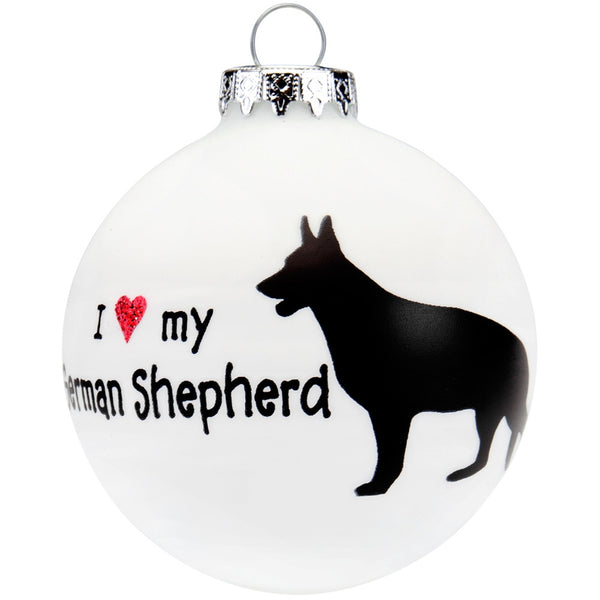 German Shepherd I Heart Round Glass Ornament