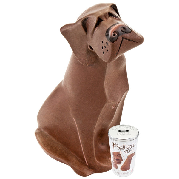 Chocolate Labrador Figurine With Money Box Tin