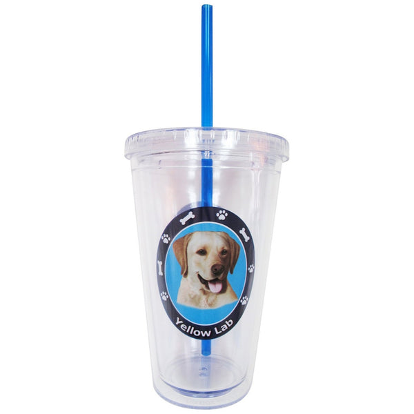 Yellow Labrador Profile Circle Plastic Pint Cup With Straw