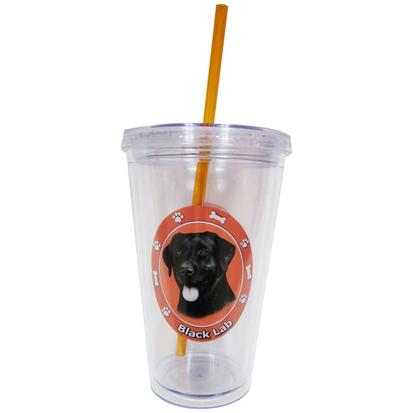 Black Labrador Profile Circle Plastic Pint Cup With Straw