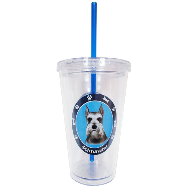 Schnauzer Profile Circle Plastic Pint Cup With Straw