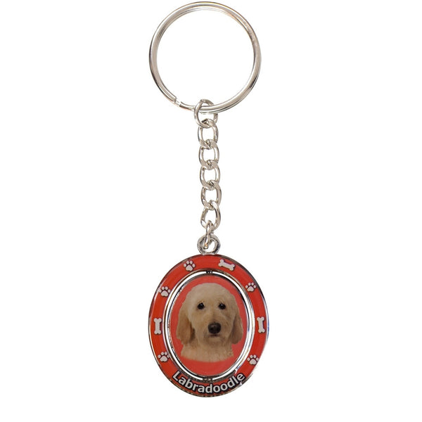 Yellow Labradoodle Portrait Oval Metal Keychain