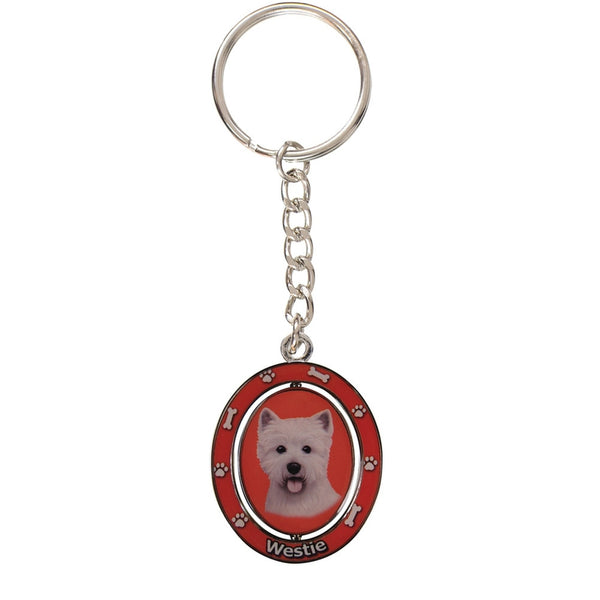 West Highland Terrier Portrait Oval Metal Keychain