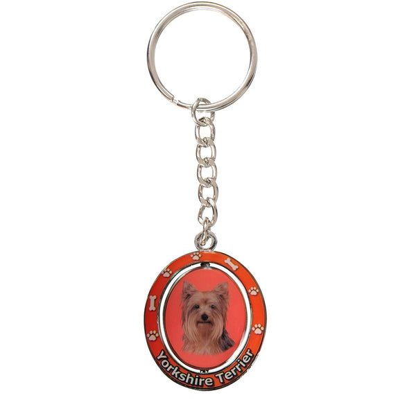 Yorkshire Terrier Portrait Oval Metal Keychain