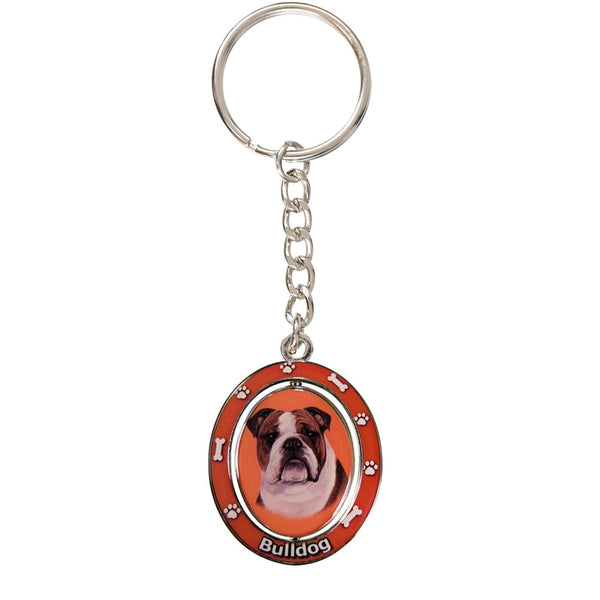 Bulldog Portrait Oval Metal Keychain