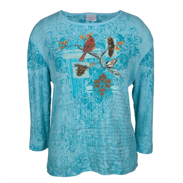 Cardinals Feathered Friends Women's 3/4 Sleeve Blouse