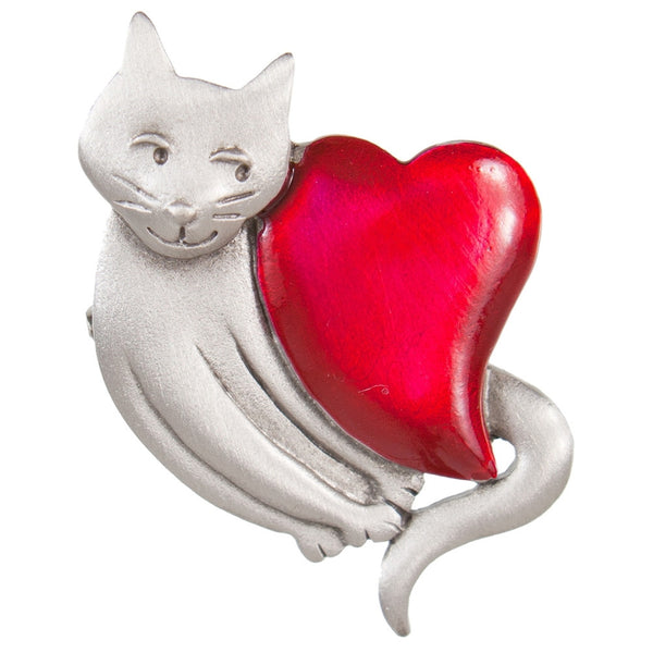 Cat With Giant Red Heart Pewter Pin