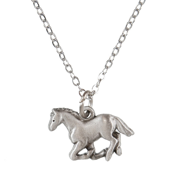 Horse Galloping Pewter Necklace