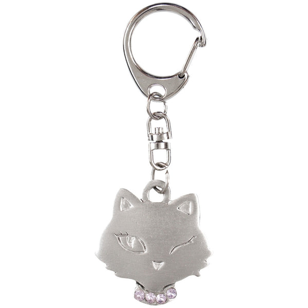Winking Cat With Rhinestones Pewter Key Tag