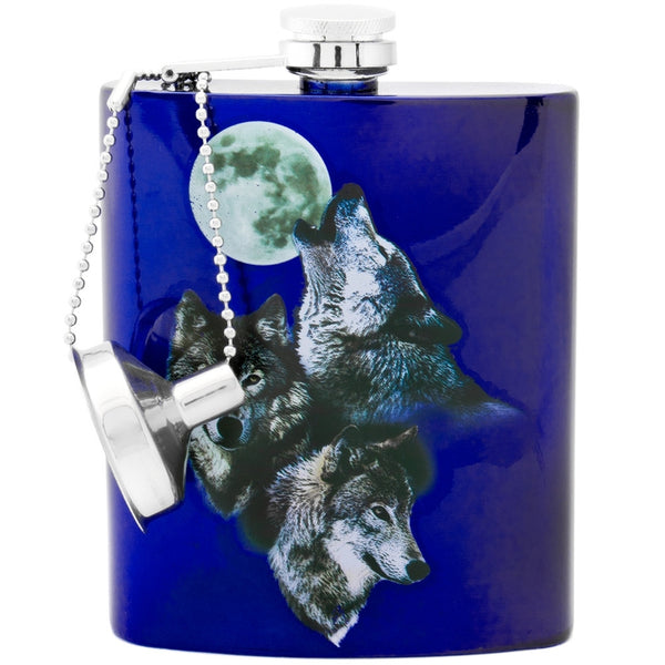 Wolves Howling at the Moon Stainless Steel Flask