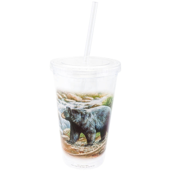 Bear By Stream Double Wall Acrylic Tumbler With Straw