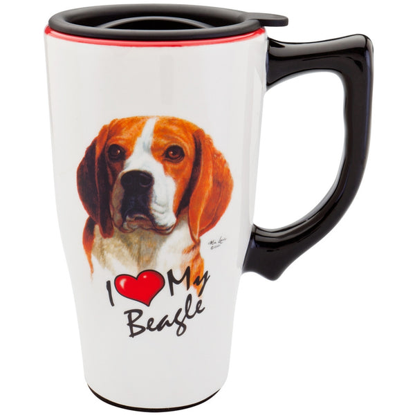Beagle I Heart Ceramic Travel Mug