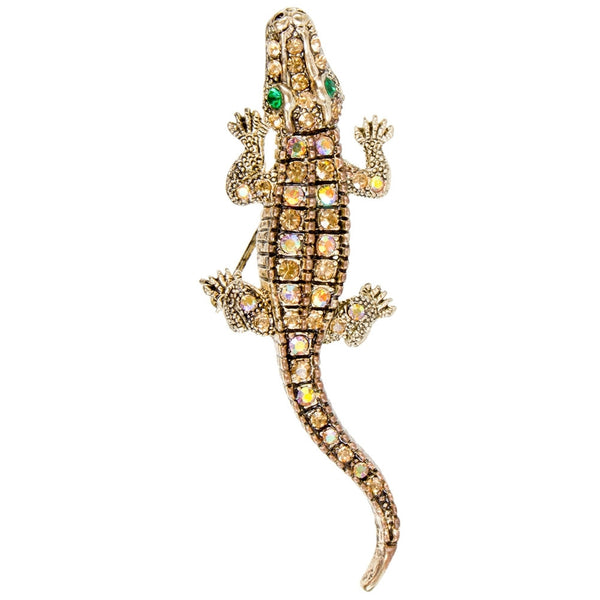 Alligator Gemmed Body Brooch