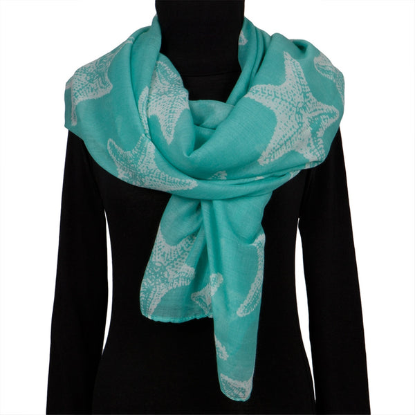 Starfish Large Body All-Over Women's Scarf Turquoise