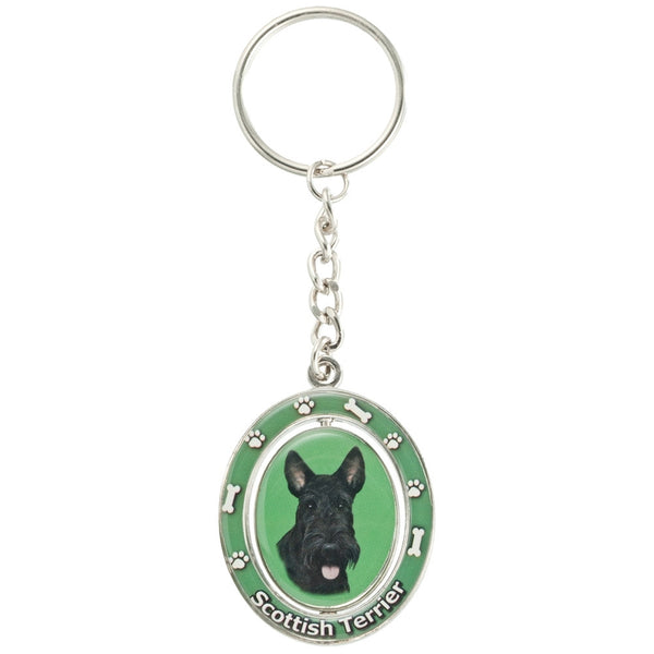 Scottish Terrier Portrait Oval Metal Keychain