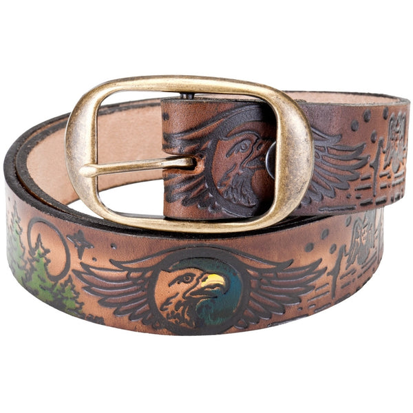 Eagle Soaring Above Trees Collage Leather Belt