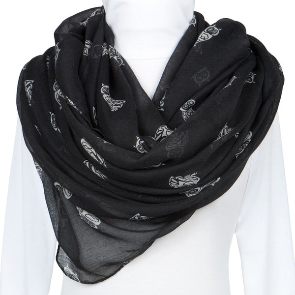 Black Owl Repeat All-Over Scarf